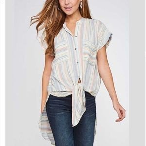 Striped Button Down Front Tie High Low Tunic Top